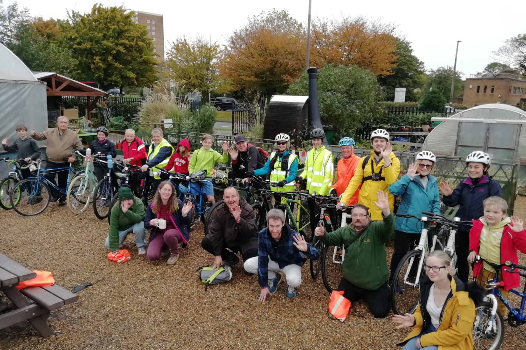 Garden Ride participants give a cheer at Westcliff