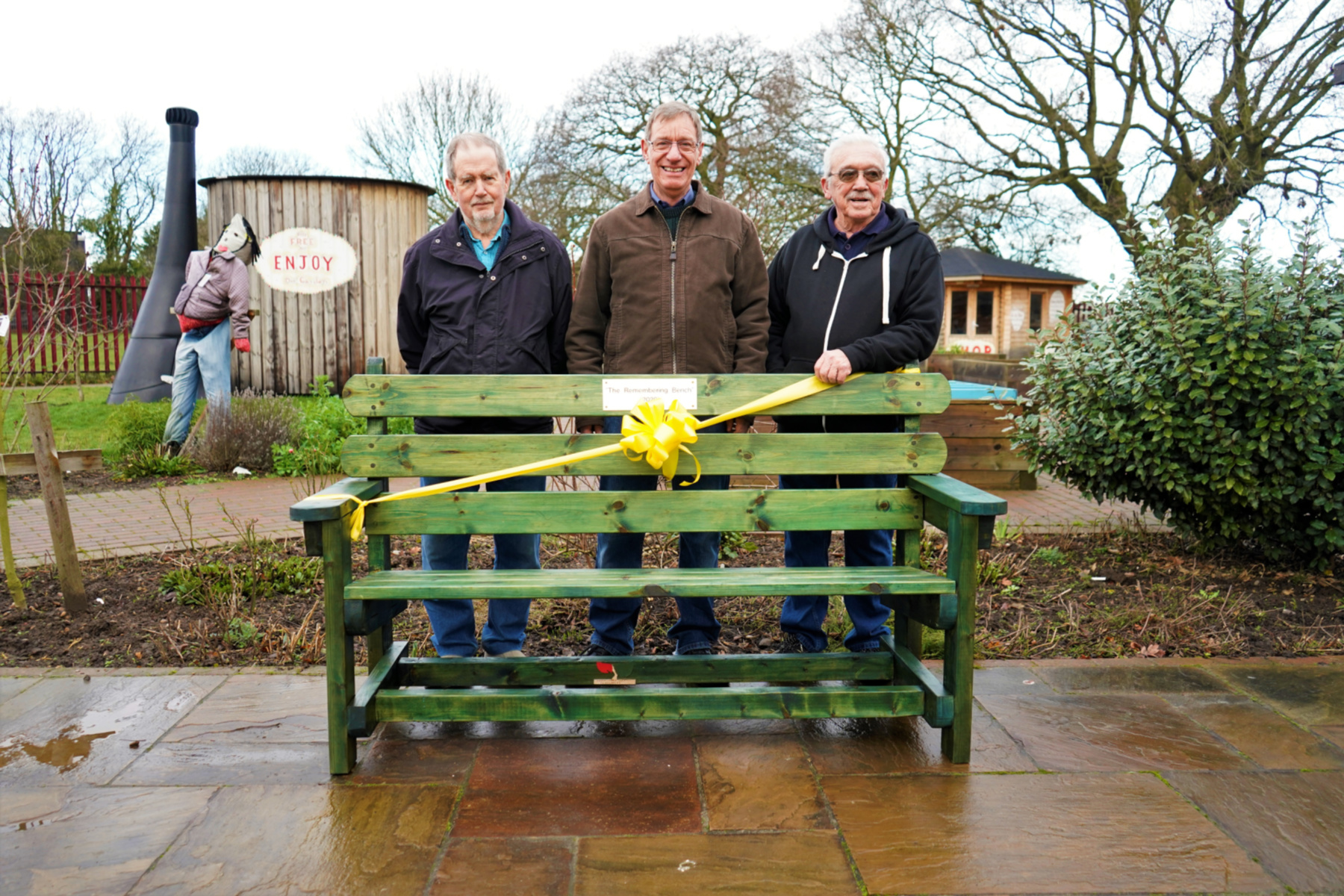 Community Shed members at the unveiling of the Remembering bench