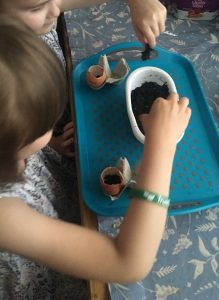 a child plants seeds for a blooming well activity