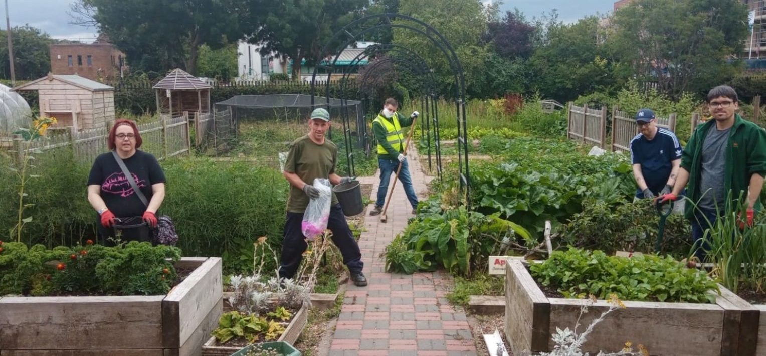 Therapeutic gardening - Members gardening at Growing Together Westcliff