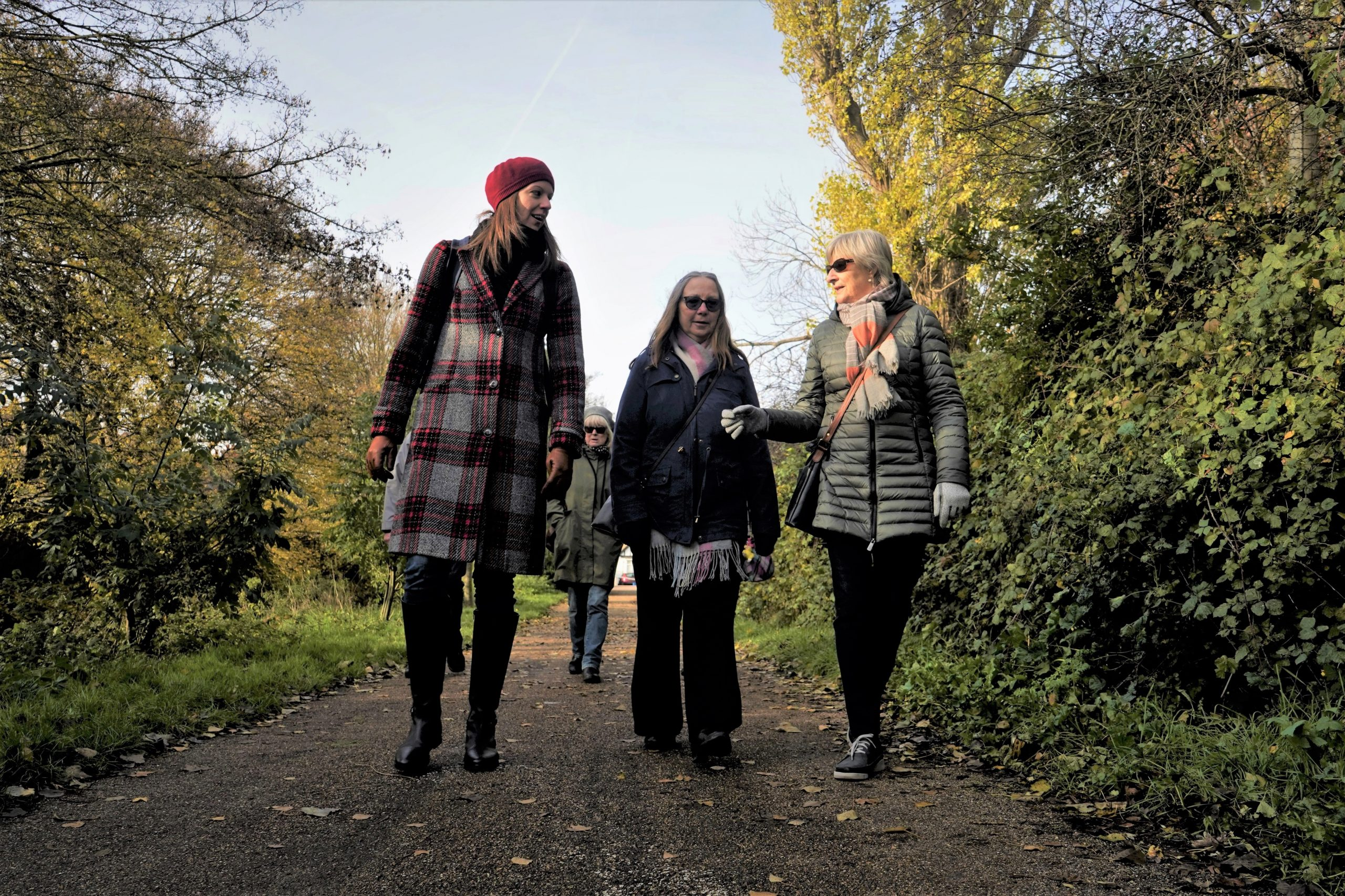 Carers walking and chatting on Prittle Brook