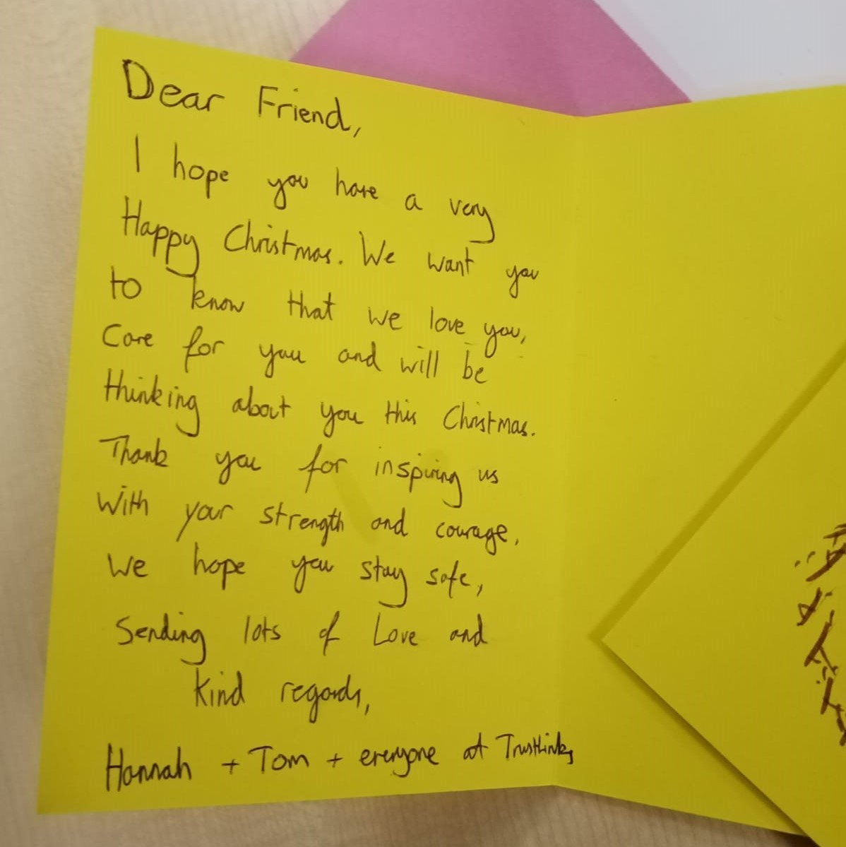 a message of support to the homeless, inside on the the handmade Christmas cards