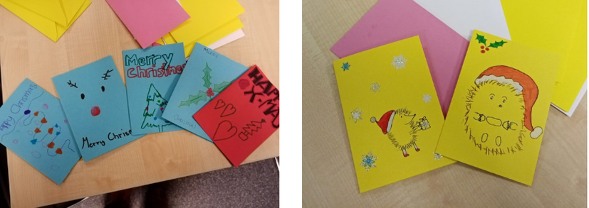 Christmas cards for the homeless made by Youth Links with drawings of Christmas trees, hedgehogs and Rudolph