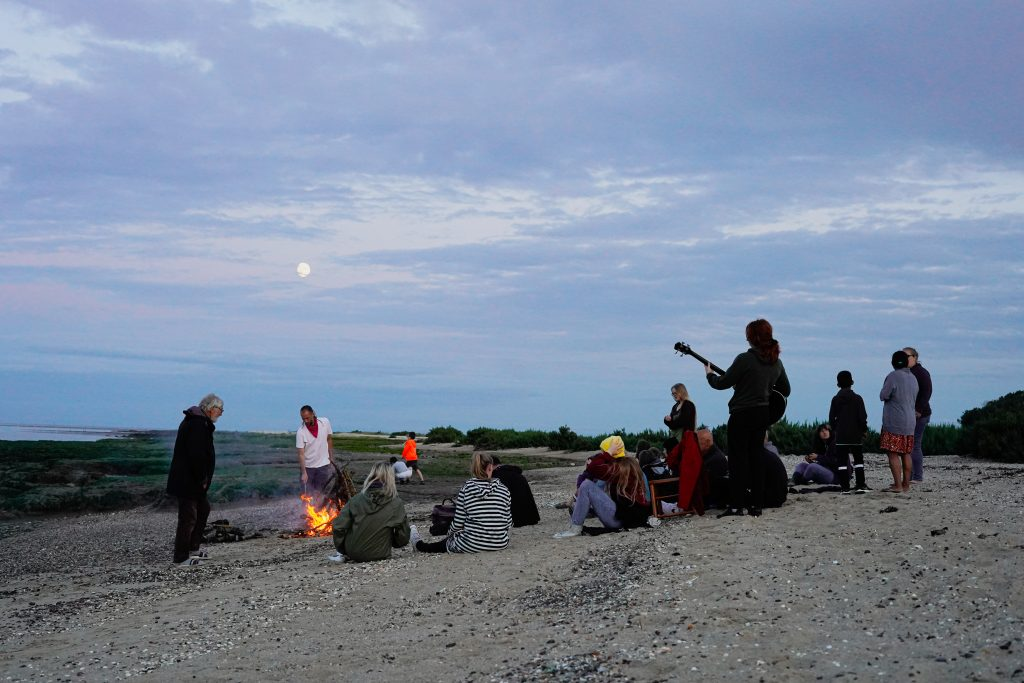 Final campfire on the beach at Othona